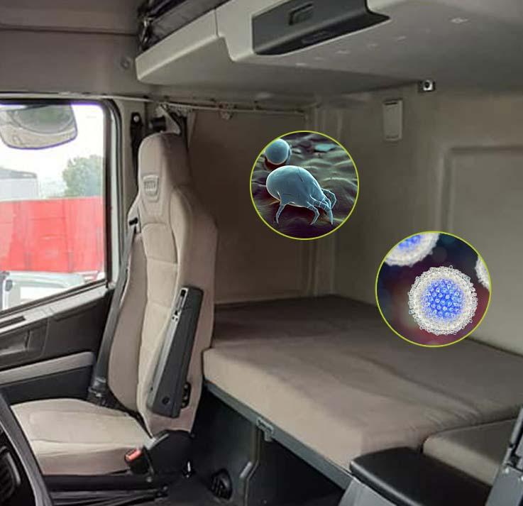 Sanificazione a vapore cabina camion