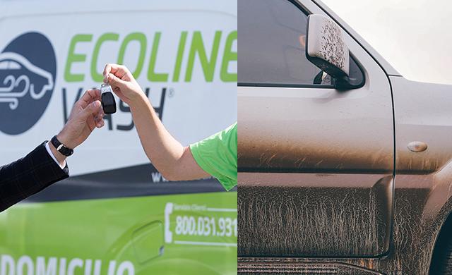 Il vapore elimina il fango dai sedili e carrozzeria