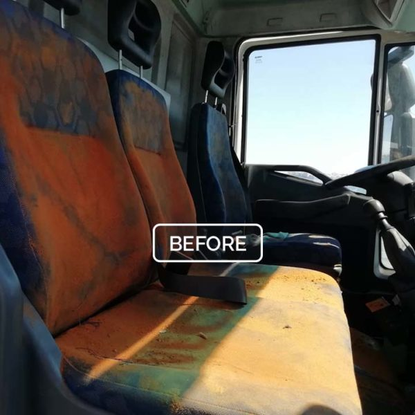 truck before steam cleaning